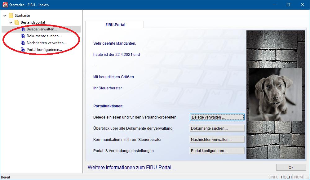 Ein FIBU-Portal beim Mandanten. Bilder und Texte können von Steuerberatern konfiguriert werden.